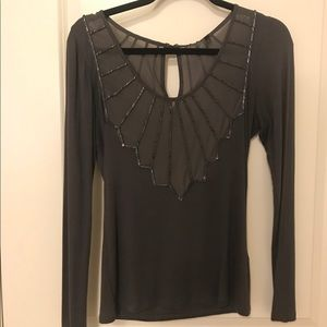 Long sleeve BKE boutique beaded shirt